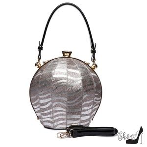 My Bag Lady Online Bags - Ball Shaped Satchel in Zebra Sparkle